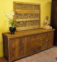 Rustic Teak Buffet, Old Indonesian Carved Panel and Buddha. Visit GadoGado.com for a great selection of Indonesian / Bali furniture.