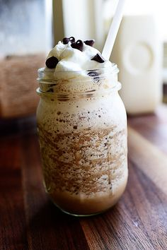 Homemade Mocha Frappuccino by The Pioneer Woman, Ree Drummond Mocha Frappuccino, Homemade Frappuccino, Mocha Frappe Recipe, Burger Bar, Chocolate Syrup, Hot Chocolate, Chocolate Chips, Iced Coffee, Coffee Enema