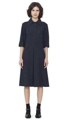 WOMEN AUTUMN WINTER 15 - Dark navy cotton/wool Collared Dress, black patent leather Heeled Sandal