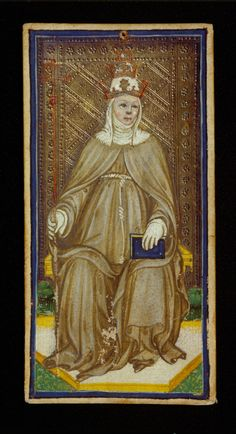 The Popess,  Bonifacio Bembo or family  Visconti-Sforza, Tarot Cards,  Italy, Milan, ca. 1450,  173 x 87 mm,  Purchased by Pierpont Morgan, 1911; MS M.630 (no. 23)