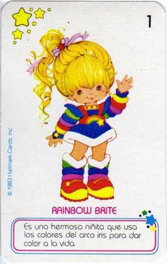 80s Characters, Type Illustration, Rainbow Birthday Party, Favorite Cartoon Character, Old Anime, Rainbow Brite, Old Toys, Vintage Cards, Retro