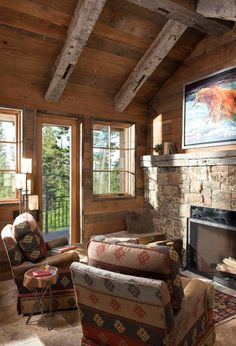 This spectacular rustic mountain retreat was designed by Altius Design Group and built by Malmquist Construction, located in Whitefish, Montana. Cabin Interior Design, Interior Design Shows, Cabin Fireplace, Living Room With Fireplace, Country Style Living Room, Beautiful Living Rooms, Cabin Homes, Living Room Lighting, Rustic Interiors