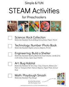 I need to print this checklist to do with my kids this weekend! Simple and Fun STEAM activities for preschooler | STEM Activities for kids,