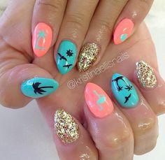 Black | Vacation Nail Decal | Summer Nails | Palm Tree Nail Art | Vacation Nails | Hawaii Nails | Flamingo Nails | Nails | Nail Art | Nail Decals