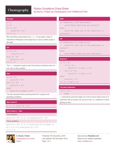 Python Conditions Cheat Sheet from Nouha_Thabet. Data Science, Computer Science, Ciphers And Codes, Coding Languages, Python Programming, Back On Track, Cheat Sheets, Cheating, Infographic