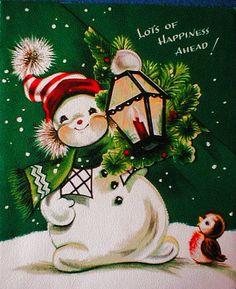 Snowman w/ Lantern & Bird-Vintage Christmas Card-Greeting Vintage Christmas Images, Old Christmas, Old Fashioned Christmas, Retro Christmas, Vintage Holiday, Christmas Pictures, Christmas Snowman, Christmas Decor, Vintage Greeting Cards