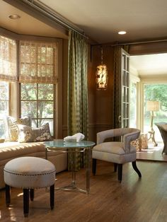 Entertaining was high on the list for these homeowners. The living room bay window seat offers a beautiful place to sit and read or enjoy a cup of coffee with friends and family.