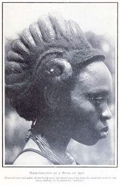 "Hair - dressing as a work of art. ""Charcoal dust and palm oil are freely used, but should necessity arise, the structure must be cut away entirely as it cannot be 'undone'"". Igbo woman, Nigeria (via thefemaletyrant) African Culture, African History, Style Tribal, Tribal Hair, African American Hairstyles, African Beauty, West Africa, Hair Art, Vintage Beauty"