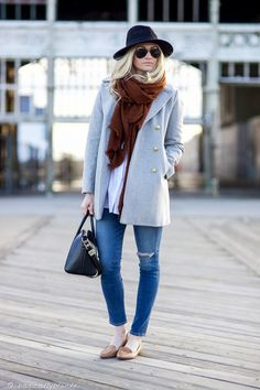 Grey Melton Peacoat | j crew - winter outfit ideas -www.basicallyblonde.com