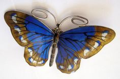Large Norwegian Marius Hammer Silver and Enamel Butterfly Brooch