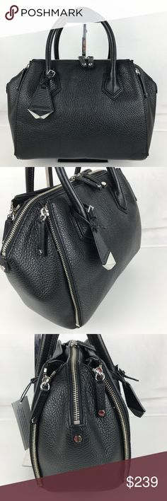 """Rebecca Minkoff Perry Black Satchel HS16EPBS16 Authentic Rebecca Minkoff Style HS16EPBS16. New, with Tags.  A lux look in black leather with a signature hang tag. 18"""" removable strap. Two way zip closure. Zip expandable pockets with Mag closures. Int slit and zip pocket. Double handles with 4"""" drop. 10.5""""W x 9.5""""H x 4""""D.  First time I have one of these lovelies and I can tell you it feels luxurious in your hand!  Enjoy fast shipping and epic customer service from a trusted 5-star Poshmark…"""