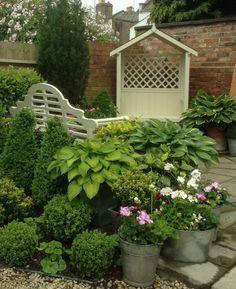 Plant hostas around the cream seat beneath the bushes/trees in front garden. Beautiful Gardens, Garden Landscaping, Terrace, Bliss, Garden Ideas, Queens, Shabby Chic, Bench, Outdoor Structures