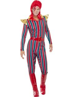 Space Superstar (Bowie) Men's Fancy Dress Costume Source by Cheap Fancy Dress, Pop Star Fancy Dress, 1980s Fancy Dress, 80s Costume, Adult Costumes, Halloween Costumes, Casual Jumpsuit, Striped Jumpsuit, David Bowie Kostüm