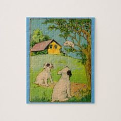1914 two dogs and a little white cat jigsaw puzzle - cat cats kitten kitty pet love pussy