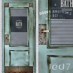 Дверь Doors Brothers #3 из коллекции #Лофт изготовлена из массива дерева.  Окрашена, состарена, имеет винтажную обработку и матовый лак.  Стилизована металлическими накладками с состаренными клепками, обработанными под ржавчину.  Дверь имеет керамическую винтажную ручку с кракелюром.