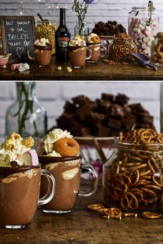A Baileys Treat Bar adds a brilliant personal touch to your wedding. Guests can personalise their own delicious Baileys hot chocolates by adding their favourite toppings. the link for recipe & method. After Dinner Cocktails, Baileys, Personalized Wedding, Cocktail Recipes, Hot Chocolate, Fall Wedding, Treats, Link