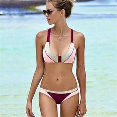 "Gender: Women Item Type: Bikinis Set Pattern Type: Solid Material: Nylon Material: Spandex XS/S (US size) Bust: 32.5-35.5"", Waist: 26-28"", Hips: 33-36"" S/M (US"