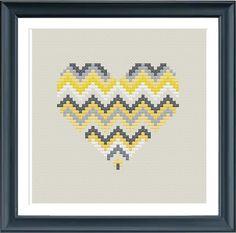 3 geometric modern cross stitch heart patterns от Happinesst