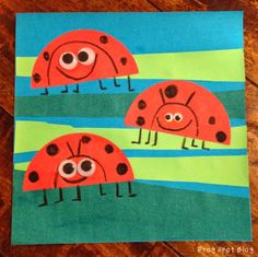 Frog Spot: Ladybug Art Link to FRACTIONS. use one red circle to make 2 ladybugs by cutting in half, use green rectangles and cut in half for the leafy strips.legs with feet pointing half left and half right. Insect Crafts, K Crafts, Insect Art, Spring Art Projects, School Art Projects, Minibeast Art, Kindergarten Projects, Ladybug Art, Creation Art