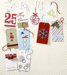 Holiday Gift Tags—Decorate with basic supplies. Start with ordinary gift-tag shapes—let creativity take over. Editor's Tip: Creating gift tags is a great way to experiment new techniques on a small scale—look for new ways to use old supplies (button snowman).