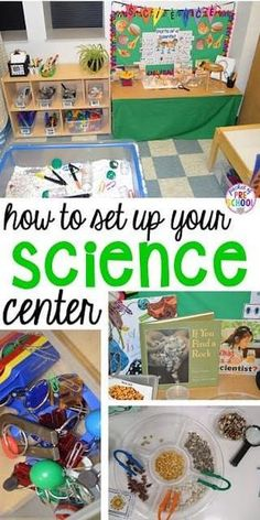 to set up the Science Center in your Early Childhood Classroom - Pocket of Preschool How to set up the science center (with freebies) in your early childhood classroom.How to set up the science center (with freebies) in your early childhood classroom. Science Center Preschool, Preschool Classroom Setup, Science Experiments Kids, Preschool Activities, Science Chemistry, Kindergarten Science Centers, Kid Science, Science Ideas, Teaching Science