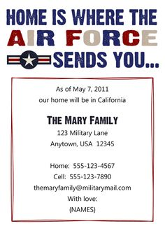 Air Force Moving Announcement  www.perfectcards.etsy.com