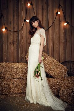 Jenny Packham draped sleeve wedding dress