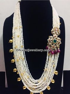 Pearls Haram with Pachi work Side Motif Bead Jewellery, Gems Jewelry, Pearl Jewelry, Indian Jewelry, Bridal Jewelry, Beaded Jewelry, Beaded Necklace, Pearl Necklace, Pearl Set