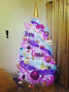 Arbol de navidad Unicornio pino de navidad unicornio Be Happy unicorn