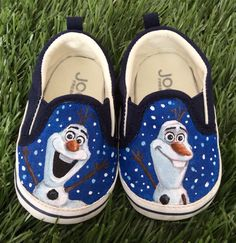"""**sales item: regular $41US now $29!**  This listing is for a pair of hand painted Olaf baby shoes size 4. These shoes are finished and ready to ship! "" So cute"