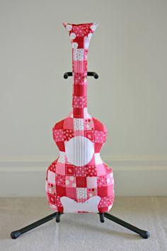 Classic Strawberry Guitar Pillow / Guitar Softie by pookiedookie