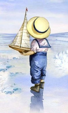 68 Ideas Children Learning Illustration For Kids Art Plage, Art Vintage, Beach Art, Seaside Art, Vintage Pictures, Painting Inspiration, Painting & Drawing, Watercolor Paintings, Watercolour