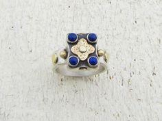 Lapis Lazuli anello  argento & 14k oro anello  anello di Omiya