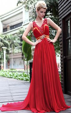 Glassy red train prom dresses UK with Beaded - 119.90 :
