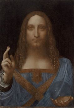 Leonardo da Vinci: Christ as Salvator Mundi (about 1499 onward). The work was only attributed to the hand of Leonardo in summer this year
