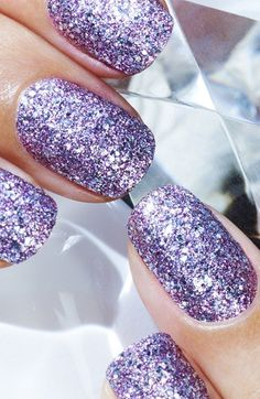 Purple glitter mani, please!