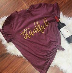 Ready to ship, Thankful Unisex T-Shirt, Thanksgiving Shirt, Thankful Shirt, Grateful, Gobble Till you Wobble, Holiday Shirt by ShopatBash on Etsy