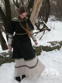 Natural Flax Chemise Tunic And Black Overtunic for sale :: by medieval store ArmStreet