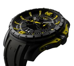 6601aa613e4 Amazon.com  NOA Men s Swiss Quartz Watch - Premium Analog Display With  Black Dial and Watch Band - White and Yellow Accents - Water Resistant  Stainless ...