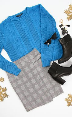 spódnica w kratkę, sweter, botki, okulary Bell Sleeves, Bell Sleeve Top, Adidas, Women, Fashion, Moda, Fashion Styles, Fashion Illustrations, Woman