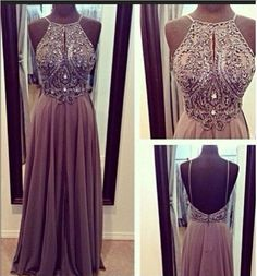 Hot Sales Chiffon Spaghetti Straps Open Back Long Prom Dresses, A-line Floor-Length Halter Backless Grey Evening Dress Gown