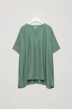 V-neck silk top  - Mist green  - Tops - COS BE
