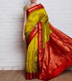 Green & Red Silk Ilkal Saree
