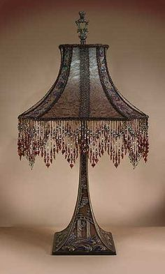 Antique Victorian Beaded Fringe Lamp...love the darkness
