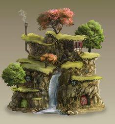 Amazing Huge Waterfall Terrarium with Raku Fired Miniature Fairy Tree Houses, Clay Fairy House, Gnome House, Fairy Garden Houses, Miniature Fairy Gardens, Miniature Houses, Fantasy House, Fantasy Art, Backyard Waterfalls
