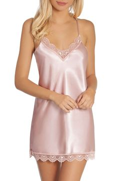 Women's In Bloom By Jonquil Glisten Chemise, Size Large - Pink Cute Lingerie, Best Lingerie, Women Lingerie, Satin Lingerie, Lace Slip, Silk Slip, Satin Slip, Pink Satin, Satin Nightie