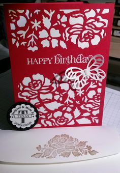 Easy and fast Happy Birthday Card, made with Stampin'UP! produts. Using Detailed Floral Thinlits & Bold Butterfly Framelit, plus the greeting from a retired stamps set Curly Cute. For more info & ideas, please check out: http://www.stampinup.net/esuite/home/suzy-q