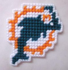 Miami Dolphins magnet in plastic canvas by AuntCC for $3.00