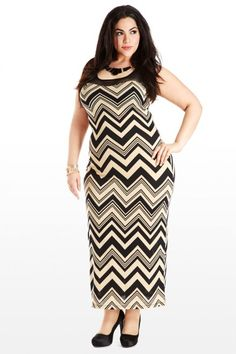 Plus Size Head to Taupe Zig-Zag Maxi Plus Size Dress
