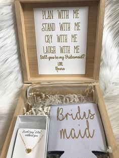 Bridesmaid proposal box // maid of Honor proposal box Looking for the perfect way to propose to your girls? This proposal box comes with a can cooler, stemless champagne glass and a necklace. The necklace can be your choice of sterling silver or 14k gold filled chain and heart